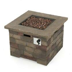 Square MGO Propane Fire Pit Firepit Heater Outdoor Patio Deck Natural Stone New