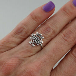 Scottish Luckenbooth Ring - 925 Sterling Silver - Hearts Crown Symbol Gift NEW