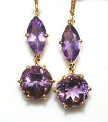 Very Attractive Beautiful Amethyst 10mm 10k Yellow Gold Hook Earring