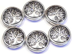6 - 2 HOLE SLIDER BEADS SILVER ROUND CURLED BRANCH CLEAR CRYSTAL TREE OF LIFE