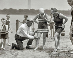 Vintage 1922 Photo BEACH COP Measuring BATHING SUITS * ROARING 20s Swimsuits Odd $7.95