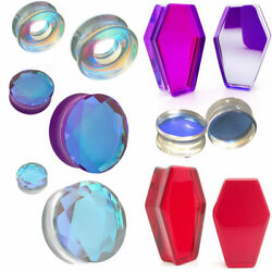 Ear gauges stretching plugs solid glass double saddle ear tunnels 2g 1 inch $9.99