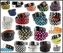 UNISEX Men Women 3 Row Metal Pyramid Studded Belt Checker Punk Rock Goth Emo