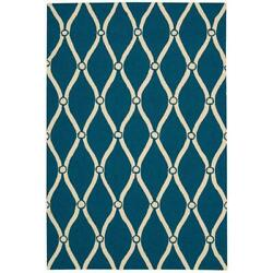 10 X 13 Ft Area Rug Carpet Indoor Outdoor Polyester Hand Tufted Portico Navy New