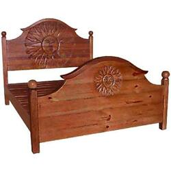 Sun Queen Size Bed Frame Handmade Natural Brown Solid Wood Ranch Style Furniture
