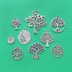 Tree of Life Charm Collection Antique Silver Tone 9 Charms COL058 $3.94
