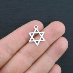 8 Star of David Charms Antique Silver Tone 2 Sided SC1743 $3.99
