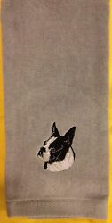 Boston Terrier Hand Towel Embroidered Custom Personalized Dog