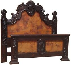 Victorian Queen Bed Frame Antique Carved Solid Wood Copper Headboard Footboard