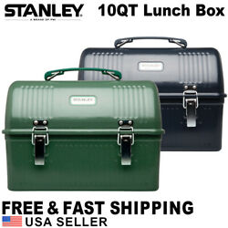 Stanley Classic Lunch Box 10 QT Large Metal Vintage Men Work Thermos Green Blue