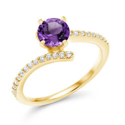 1.26 Ct Round Purple Amethyst 18K Yellow Gold Plated Silver Ring
