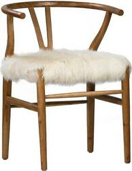 ARM CHAIR DOVETAIL BAKER NATURAL WHITE GOAT SKIN OAK WOOD HIDE NEW 2 -SHE