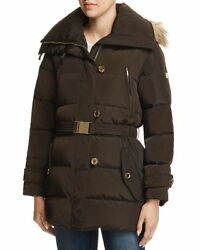 Michael Kors Belted Button Front Puffer Coat small bark new tags $99.00