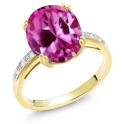 6.04 Ct Oval Pink Created Sapphire White Diamond 10K Yellow Gold Ring
