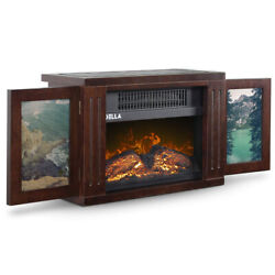 Portable Freestanding Tabletop Space Heater Flame Effect Mini Electric Fireplace $54.97