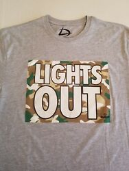Men Size Large LIGHTS OUT Short Sleeve T Shirt Gray