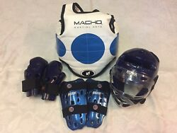 KIDS MARTIAL ARTS SPARRING GEAR CHEST HEAD SHIN GUARDS GLOVES FACE SHIELD $44.99