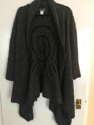 BEAUTIFUL DESIGNER HAUTE COUTURE BY SHE'S SO - LONG FLOWING GREY LADIES CARDIGAN