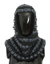 Dolce & Gabbana Gray Cashmere Glass Pearl Beaded Hood Scarf Hat Luxury Fashion P