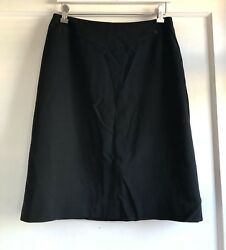 Vintage Chanel 1999 99P Wool Silk Blend Black Dress Pencil Skirt Size 42