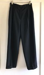 Vintage Chanel 98A CC Buttons 100% Wool Silk Black Dress Pants Size 42