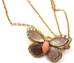 VAN CLEEF & ARPELS 18k Yellow Gold Diamond MOP Coral Butterfly Brooch Necklace
