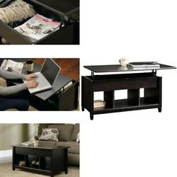 Lift Top Coffee Table w Hidden Compartment and Storage Shelves Modern Furniture $115.90