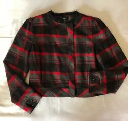 SHE SAID  Size 12 Plaid Red Black Zipper Lined Jacket Blazer Frayed EUC