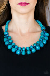Paparazzi distressed finish blue wooden beads & discs Necklace w Earrings