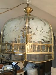 Vintage 1980s Brass Light FixtureChandelier with Curved Beveled Glass Panes
