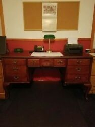 Queen Anne Executive Office Writing Wood Desk RARE wfile drawer CHERRYMAHOGANY $559.99