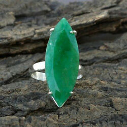 Reach Green Marquise Emerald 925 Gemstone Sterling Silver Ring