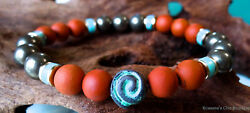 Red jasper mate and pyrite bead bracelet w Greek patina spiral and turquoise