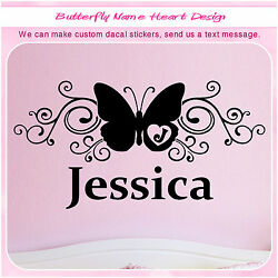 Personalized Custom Monogram Initial Name Butterfly Wall Girl Sticker Decal 070 $13.99