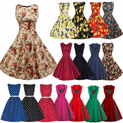 Womens 1950s 60s Vintage Rockabilly Swing Dress Retro Floral Cocktail Partydress