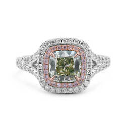 2.20Ct Cushion Cut Fancy Light Green Yellow Diamond Ring Real 18K White Gold GIA