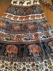 Vintage Hippie Boho Wrap Around Skirt One Size Elephants Camels Brown Orange $42.00