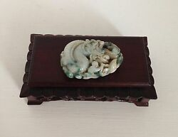 Exquisite ~TESTED Genuine JADE~ Old Chinese Carving ~Dragon & Lotus ~Fine Stand