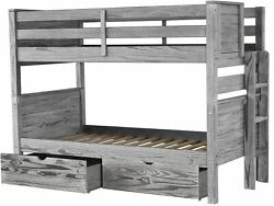 Bedz King Bunk Beds Twin over Twin with End Ladder & 2 Bed Drawers Rustic Gray