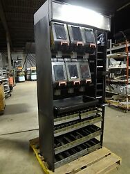 HEAVY DUTY COMMERCIAL LOT OF 6 COFFEE BIN DISPENSER ON LIGHTED DISPLAY RACK $424.99