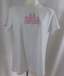 Heatgear Under Armour Womens sz Large She's a fighter Cancer white Tee Pink NEW