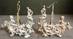 Antique Set of (2) Copper Finished Cherub Riding Griffin Mirror Stands Very Good
