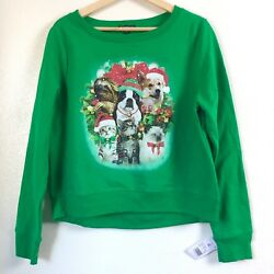 Fifth Sun Girls XL Green Christmas Cat Dog Pet Animal L S Sweatshirt Sweater Top $16.79