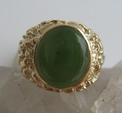Nephrite Green Jade Signet Ring Mens 14k Yellow Gold Nugget Like Band Signed TRC