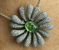 EXTRA LARGE 14.99CT DIAMOND & AAA CABOCHON PERIDOT 18K WHITE GOLD FLOWER PENDANT