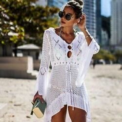 White Crochet Beach Cover Up Knitted Tunic Long Robe Beachwear Solid Cotton $36.10