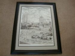 LAUDA'S CHARGE 1983 ORIGINAL PENCIL DRAWING BY RANDY OWENS SIGNED BY 10 DRIVERS