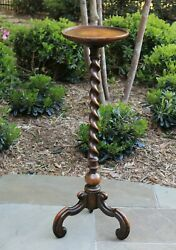 Antique English Oak BARLEY TWIST Pedestal Plant Stand Display Table Candle Stand