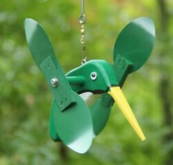 Green Hummingbird Mini Whirligigs Whirligig Windmill Yard Art Hand made from woo