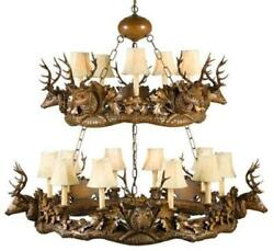 CHANDELIER MOUNTAIN RUSTIC STAG HEAD DEER 15-LIGHT SMALL 2-TIER RESIN NEW